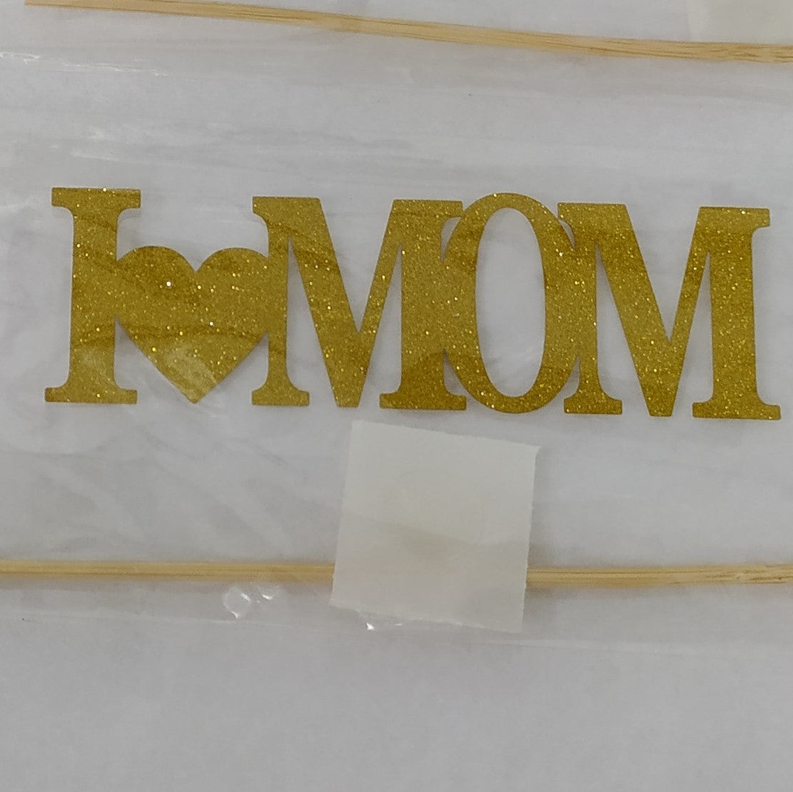 I Love Mom Paper Cake Topper - Gold