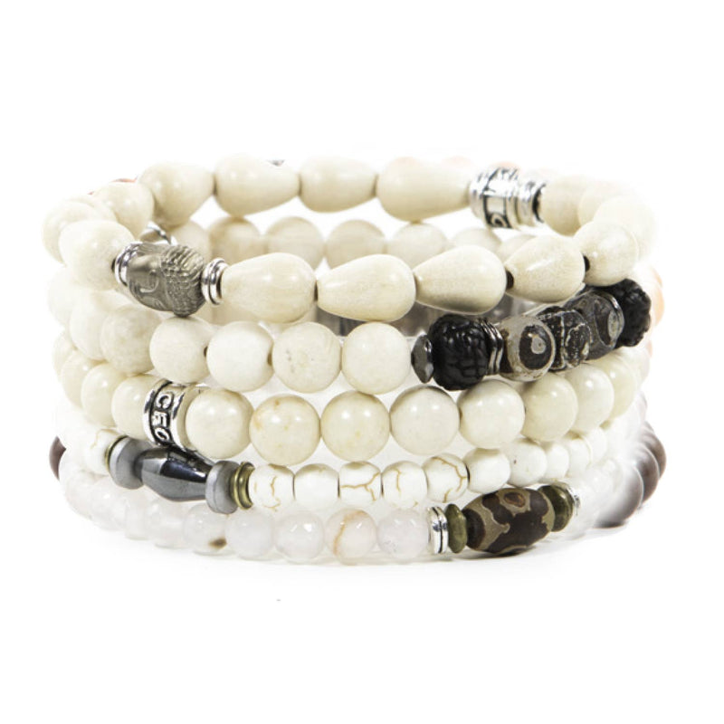 White Beaded Elastic Bracelets