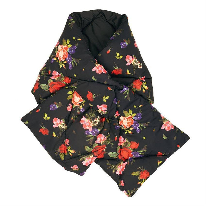 Reversible Favorite Things Puffy Scarf - Black/Red Floral