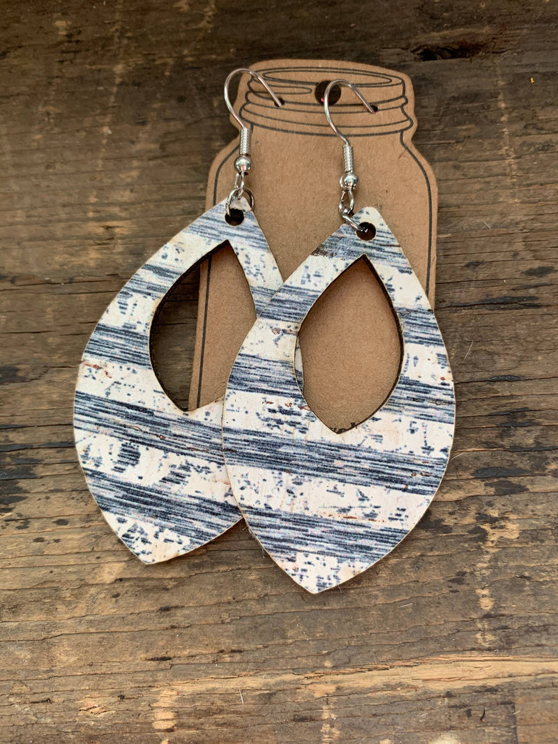 Blue and White Striped Cork and Leather Teardrop Earrings