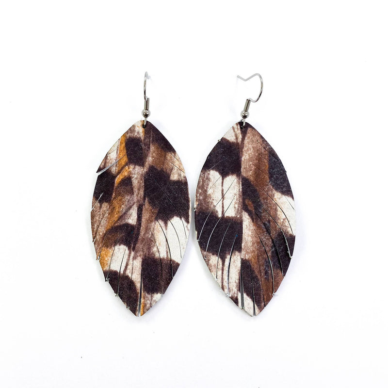 White Pheasant Print Feather Fringe Leather Earrings