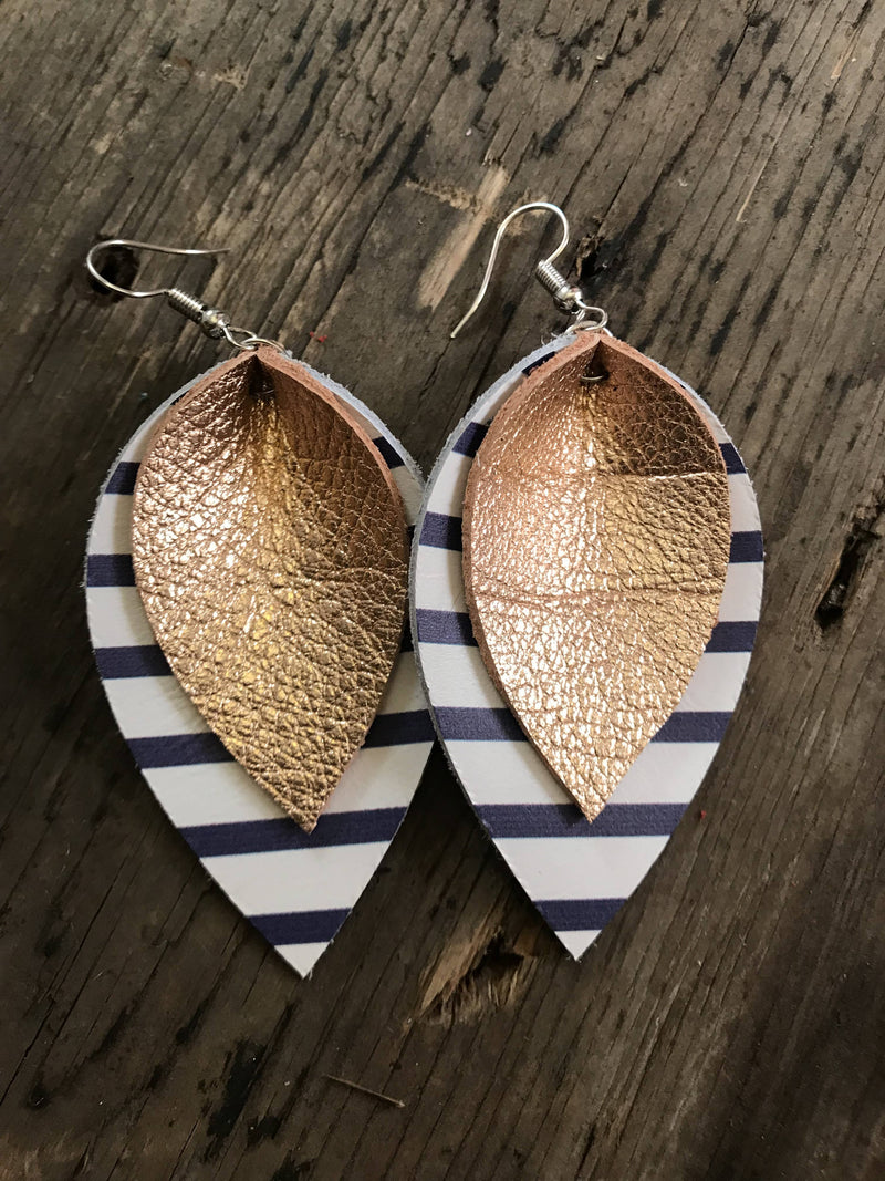 Rose Gold Leather Earrings With Blue and White Stripes