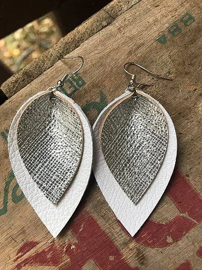 White and Silver Leather Earring