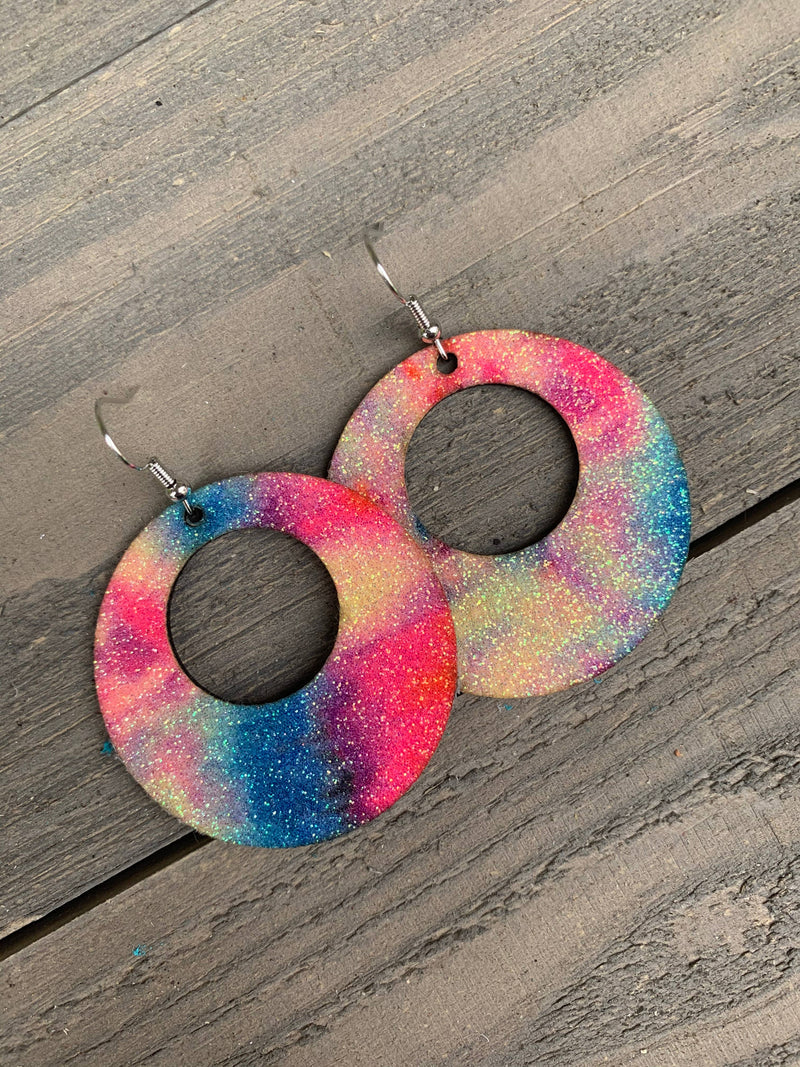 Glitter Tie Dye Cork Leather Hoop Earrings