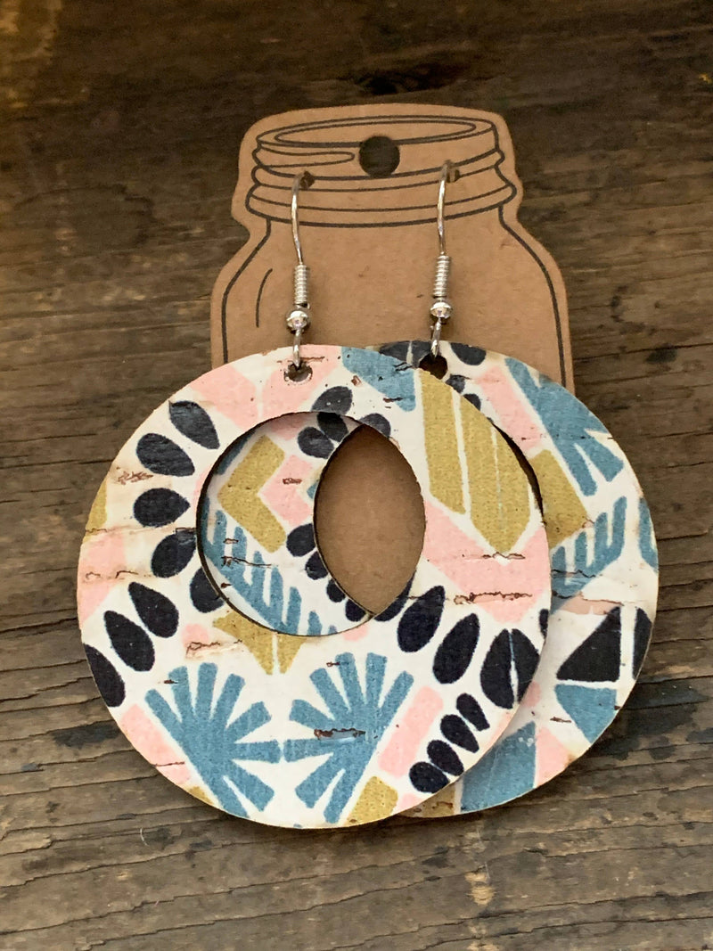 Pink and Mint Aztec Leather and Cork Hoop Earrings