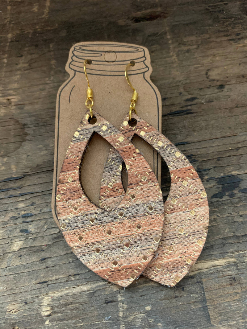 Red Oak Wood with Gold Cork and Leather Teardrop Earrings