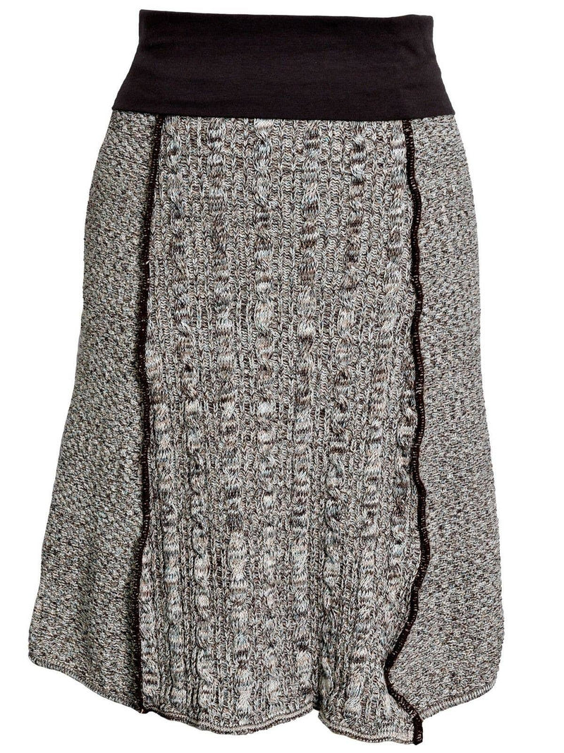 Women's Cotton Sweater Knit Panel Skirt -Chocolate Space Dye