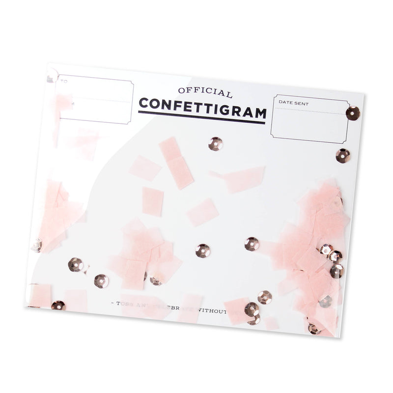 Rose Gold Confettigram Card