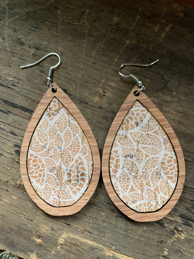 Wood Teardrop Earrings with White Lace Cork