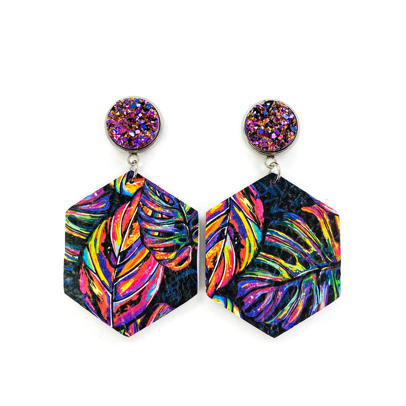 Druzy and Neon Palm Hexagon Leather Earrings