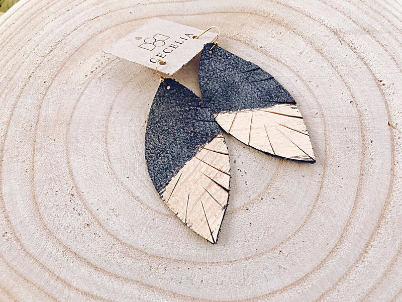 Shimmery Painted Leather Earrings