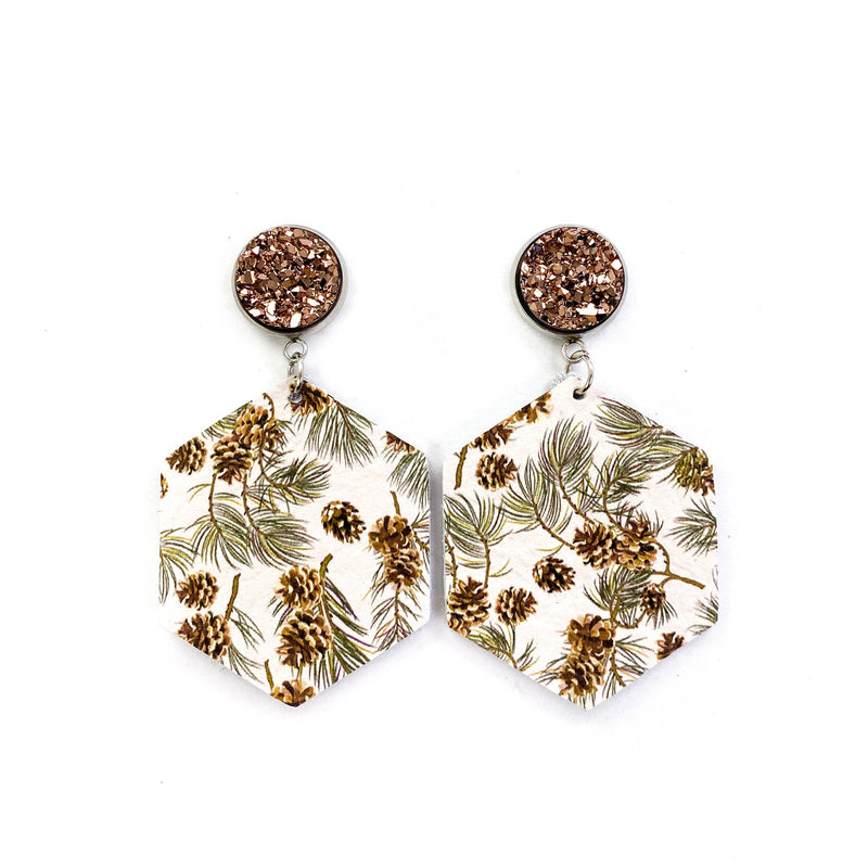 Rose Gold Druzy Stud & Winter Pine Cone Leather Earrings