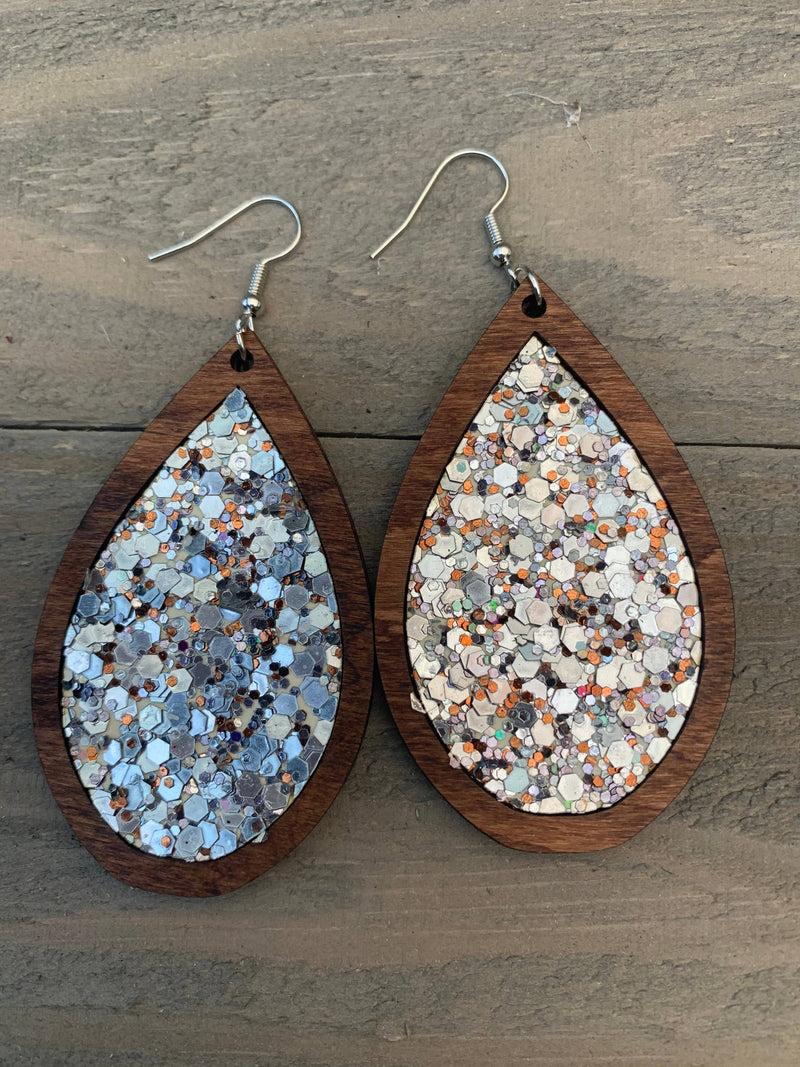 Wood Teardrop Earrings with Silver and Copper Cork