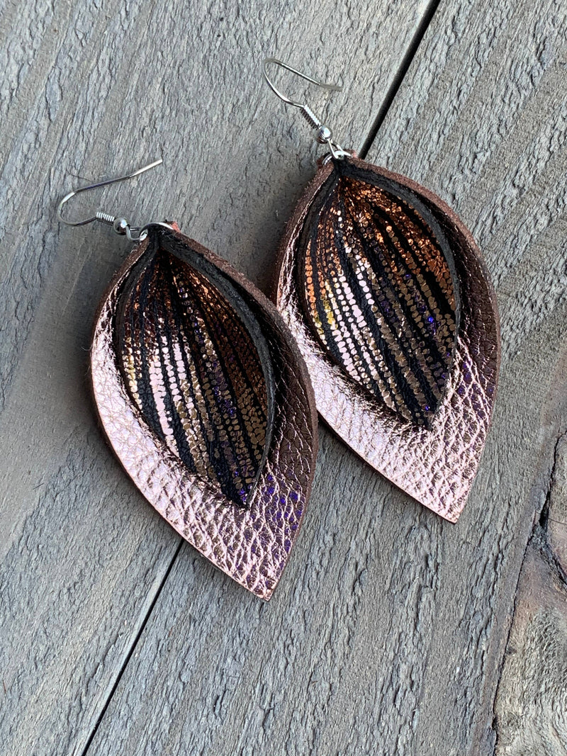 Rose Gold and Black Rain Double Layered Leather Earrings