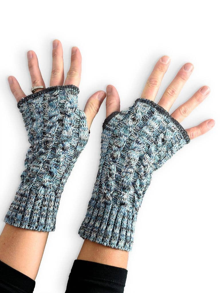 Women's Recycled Hand Warmer Fingerless Glove - Twisted Cable