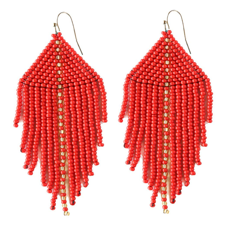 Raya Beaded Earrings Red