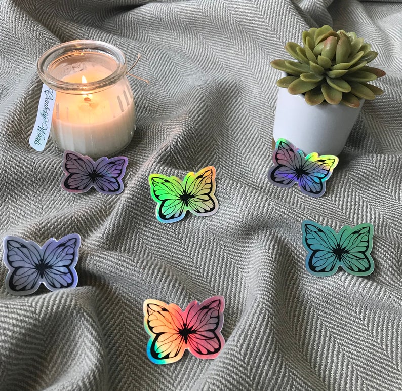 """Butterfly"" Hand Drawn Holographic Sticker"