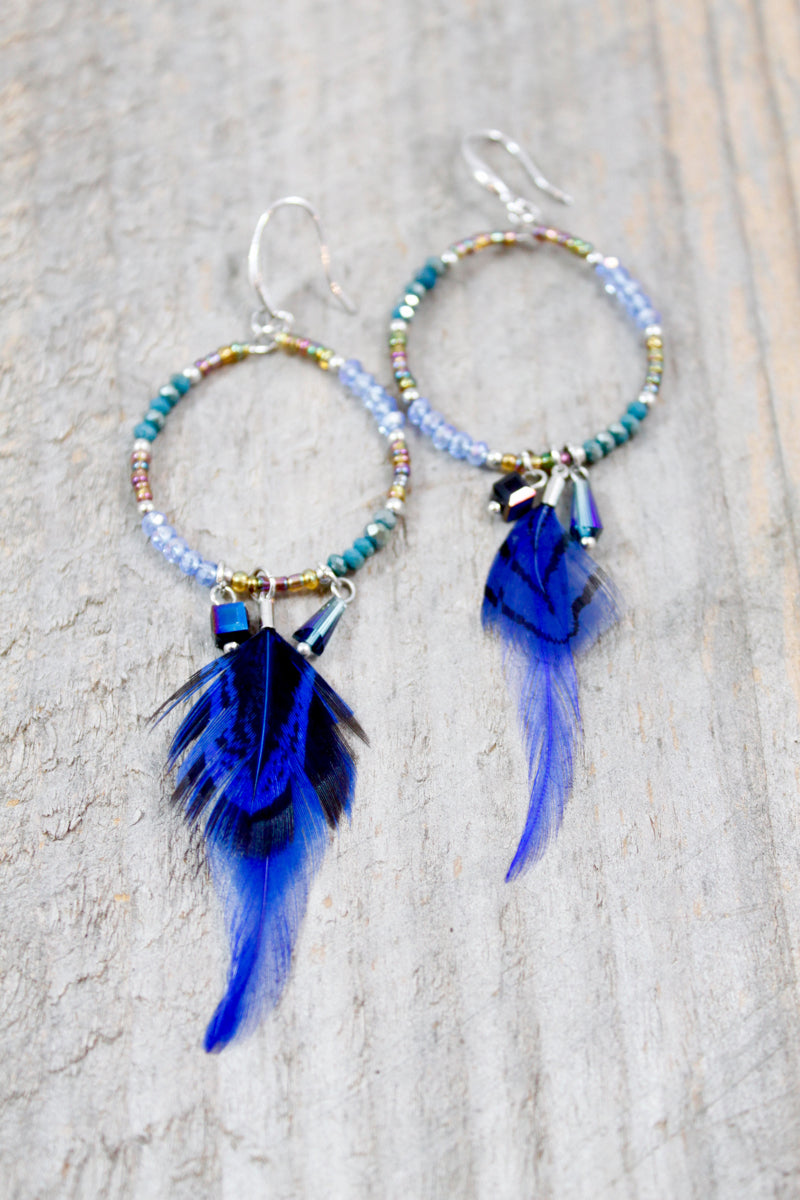 Blue Feather Hoop Earrings
