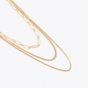 Gold Dipped Paper Clip Layered Chain