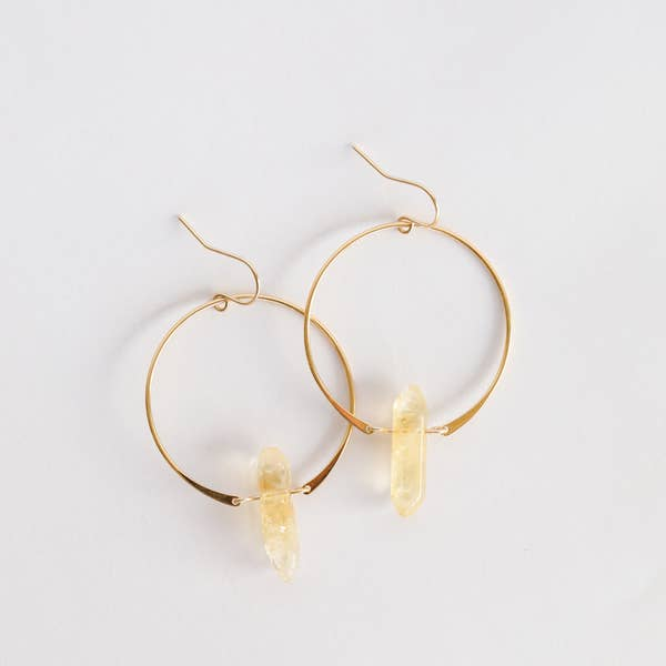 Citrine{Success Stone} Gold Hoops