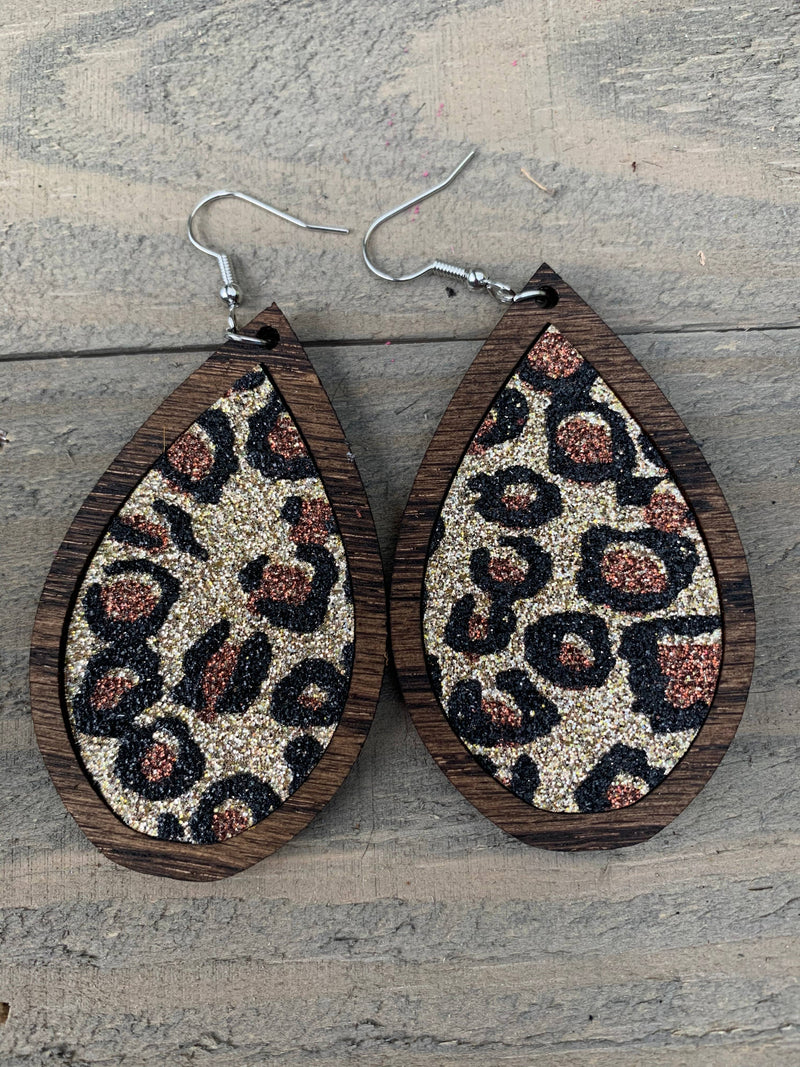 Wood Teardrop Earrings with Gold Leopard Glitter
