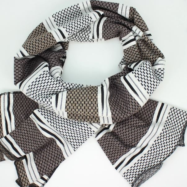 Black & White Jersey Oblong Scarf - Brown + Cream Stripe