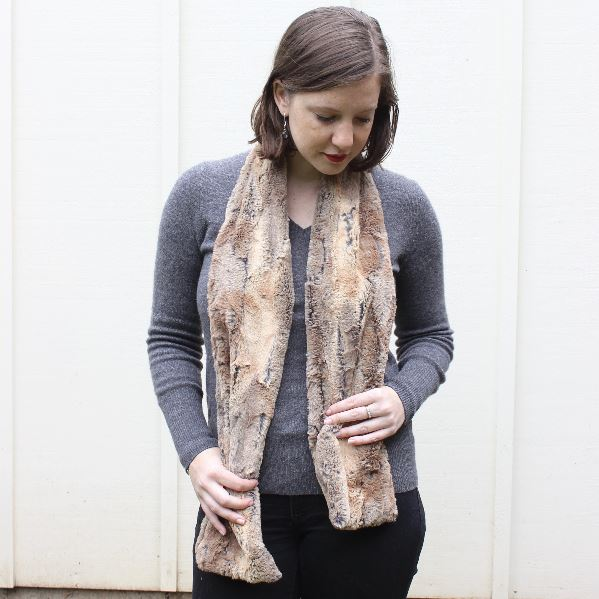 Faux Fur Oblong Scarf - Golden Fox