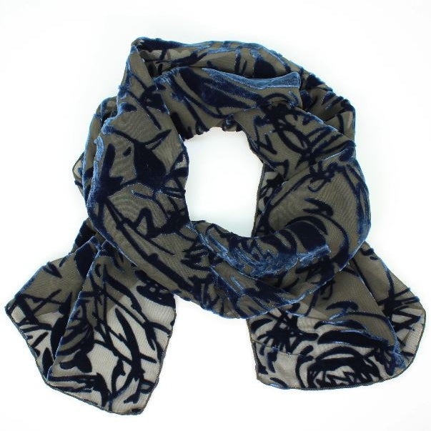 Burnout Velvet Scarf - Denim Flower