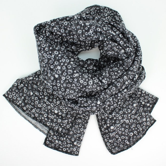 Heather Jersey Print Oblong Scarf - Black and White Dots