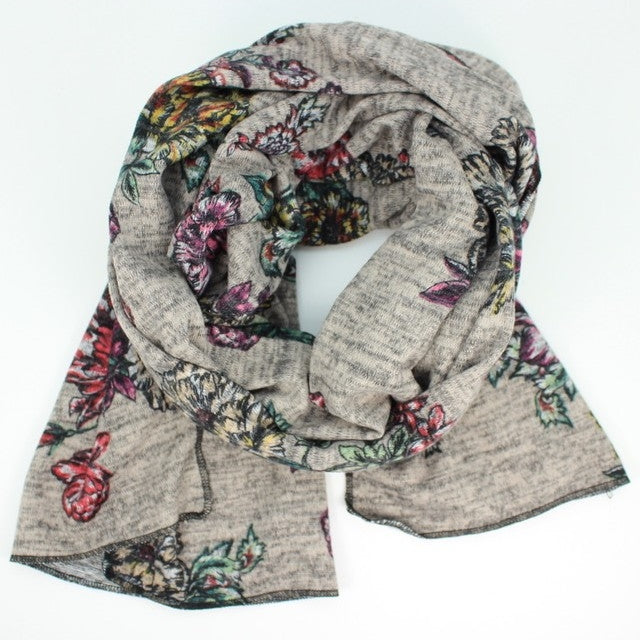 Heather Jersey Print Oblong Scarf - Blush Floral