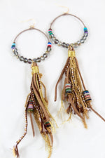 Earth Crystal Tassel Earrings