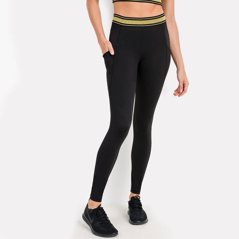 High-waist Leggings with Gold Stripe Band