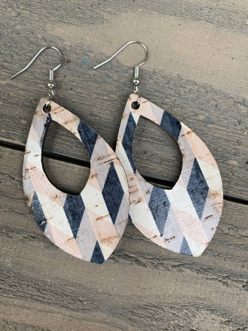 Tan and Black Chevron Cork and Leather Teardrop Earrings