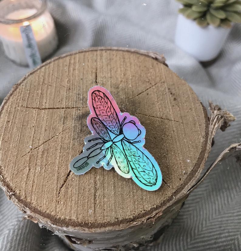"""Dragonfly"" Hand Drawn Holographic Sticker"