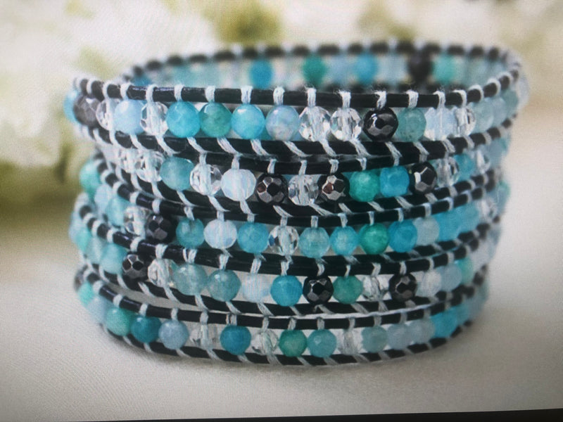"Five Wrap Leather Hand-Tied Bracelet ""Aqua"""