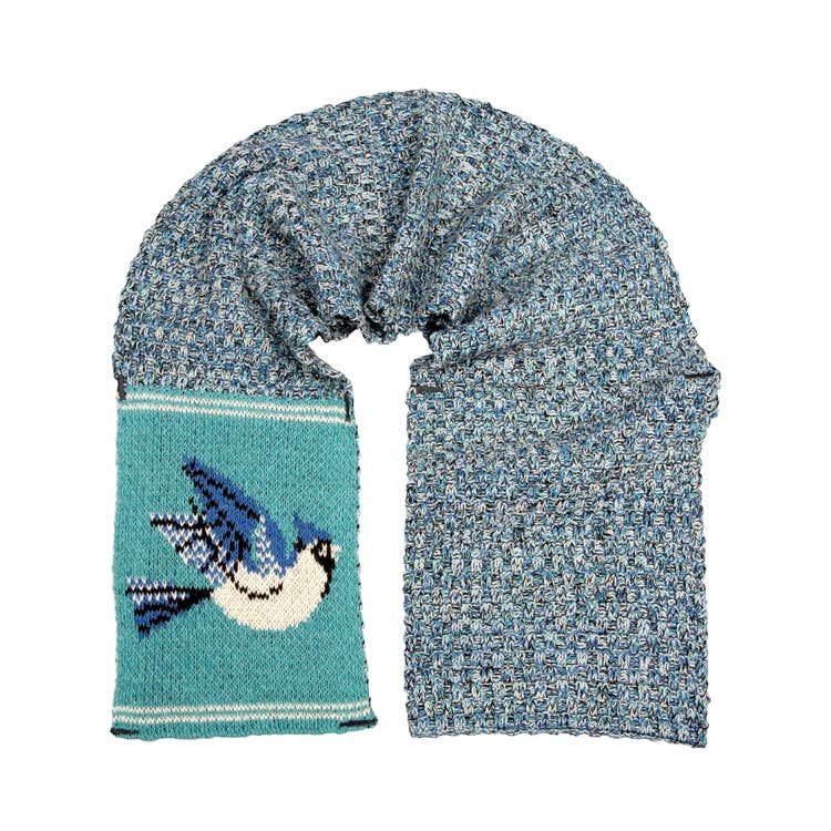 Women's Recycled Cotton Sweater Knit Pull Through Scarf-Blue Bird