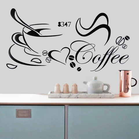 Coffee Cup Style Wall Stick  Art DIY Water Resistant