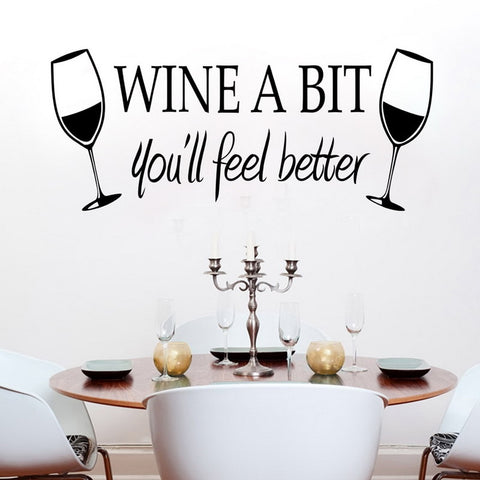 Wine a Bit Style Cheers Removable Vinyl Decal Wall Sticker For Candlelight Dinner Home Decor Art 55 X 23.5cm