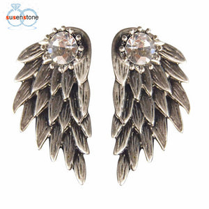 SUSENSTONE Women's Cool Jewelry Angel Wings Rhinestone Alloy Earrings