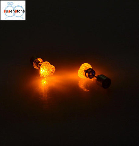 SUSENSTONE Earrings LED heart-shaped luminous earrings  Dance Party Accessories Light Up LED Bling Ear Studs Earring