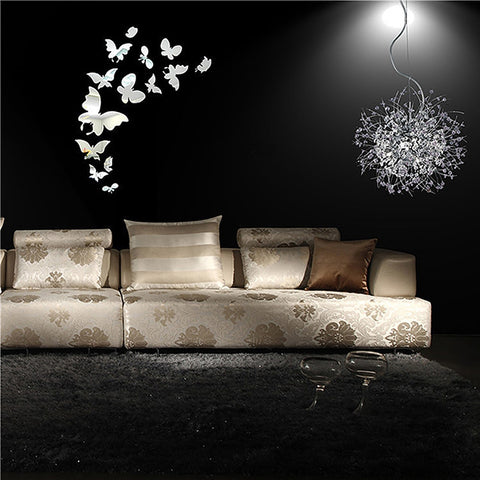 DIY 3D Wall Sticker Acrylic Butterfly Decal Silvery Mirror Wall Stickers Bedroom