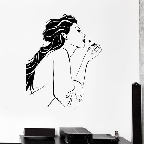 Image of Woman Lipstick Girl Beauty Salon Wall Art Stickers Decal Home DIY Decoration