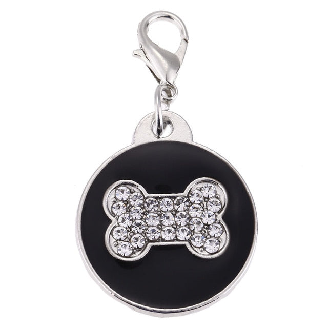 Pet Cat Dog ID Tags Personalized Bone Shaped Engraved Dog ID Cards Crystal Dog Collar Pendants for Dog Cats Kitten