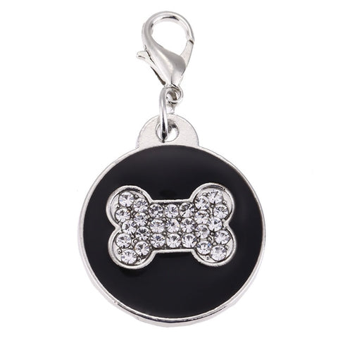 Image of Pet Cat Dog ID Tags Personalized Bone Shaped Engraved Dog ID Cards Crystal Dog Collar Pendants for Dog Cats Kitten
