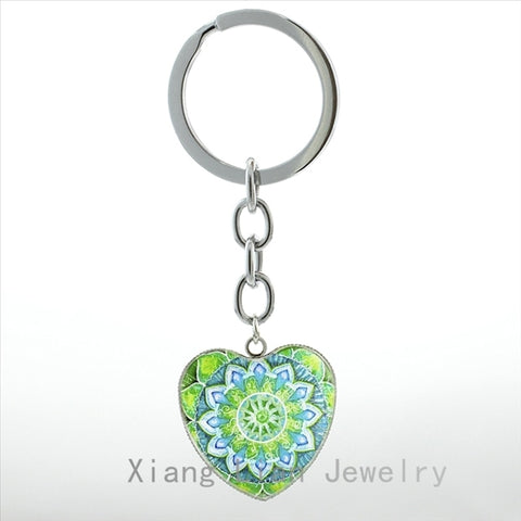 Spring Flower of Life key chain ring Om Heart Chakra Yoga Meditation Mandala keychain Health Healing Love women jewelry HP139
