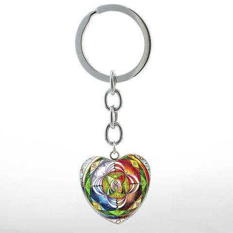 Image of Spring Flower of Life key chain ring Om Heart Chakra Yoga Meditation Mandala keychain Health Healing Love women jewelry HP139
