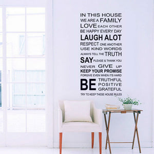 English Proverbs Wall Sticker Family House Rules Wall Stickers Decal Removable