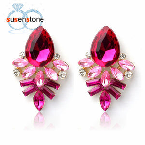 New Fashion Women Lady Rhinestone Crystal Free Alloy Ear Studs Earrings