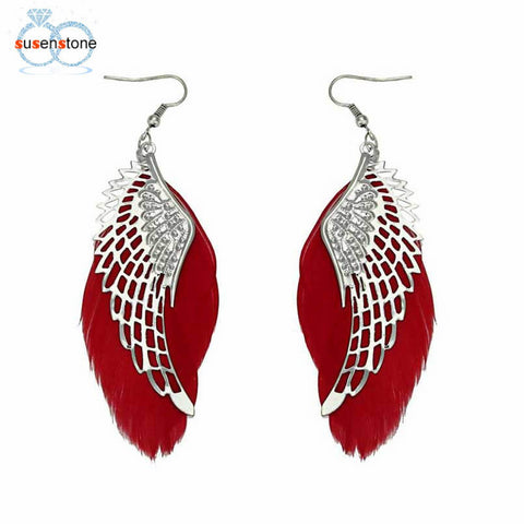 SUSENSTONE Angel Metal Wing Bohemian Handmade Vintage Feather Long Drop Earrings