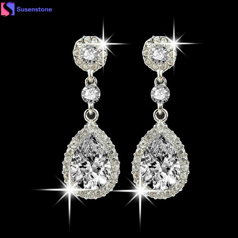 SUSENSTONE Wedding Jewelry Rhinestone Style Wedding Earrings For Women